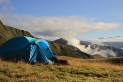 The tent in the mountains of Khevsureti (Georgia) Royalty Free Stock Images