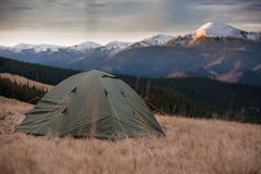 Tent in mountains. In the morning Royalty Free Stock Photography