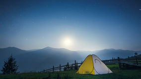 Tent in the mountains at night Royalty Free Stock Photography