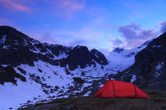 Tent and mountains Stock Photography