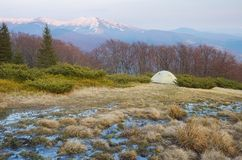 Tent in the mountains Stock Images