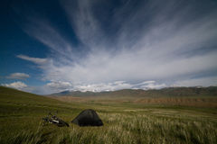 Tent in mountains under star sky Royalty Free Stock Photography
