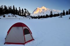 Tent and mt shuksan Royalty Free Stock Photo