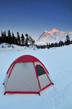 Tent and mt shuksan Royalty Free Stock Images