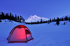 Tent and mt shuksan Royalty Free Stock Photography