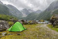 Tent near Buerbreen Glacier, Norway Royalty Free Stock Image