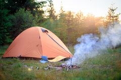 Tent near the fire Stock Image