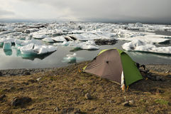 Tent near the glacier lake, Iceland Stock Image