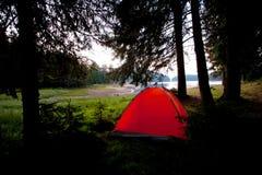 Tent near lake Royalty Free Stock Image