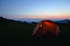 Tent in night mountains. Hiking tent in night mountains Stock Photography