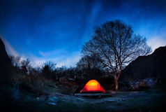 Tent at night Royalty Free Stock Photography