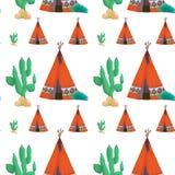 Tent och kaktus royaltyfri illustrationer