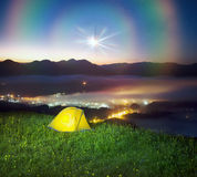 Tent over the village of Verkhovyna stock photo