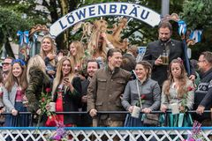 Tent owners and breweries parade at the beginning of Oktoberfest - Lowenbrau parade. MUNICH, GERMANY - 16 OCTOBER 2017: Tent owners and breweries parade at the Stock Image
