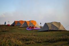 Tent på berg Fotografering för Bildbyråer