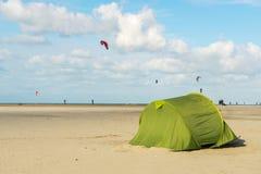 Tent på stranden Fotografering för Bildbyråer