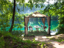 Tent for picnic. On the beautiful blue lake of Kabardino-Balkarian Republic Stock Images