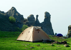 Tent on the plato in Crimean mountains Stock Image