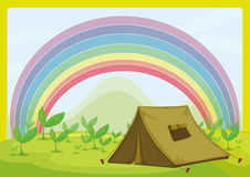 A tent and a rainbow Royalty Free Stock Photography