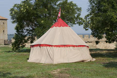 Tent of reconstruction of camping of knights photo Royalty Free Stock Image