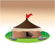 Tent with red flag Stock Photo