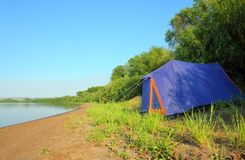 Tent on river beach Royalty Free Stock Photo