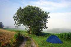 Tent and road Stock Image