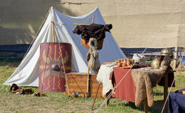 Tent in a Roman Encampment at a Historical Reenactment Stock Photo