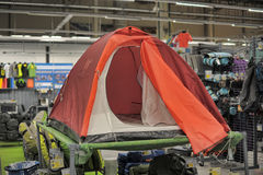 Tent on sale in the sports shop Stock Photography