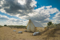 Tent on a sand beach. Travel touristic tent on a sand beach Stock Photography