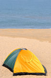 Tent on sand with exclusive meaning Royalty Free Stock Photo
