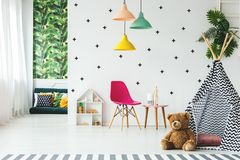Tent in scandinavian child`s room royalty free stock images