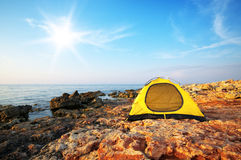 Tent on the sea Stock Images
