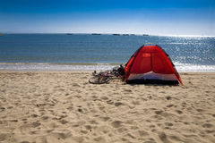 Tent by sea Stock Photography