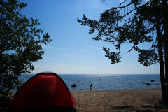 Tent on the sea Royalty Free Stock Photo