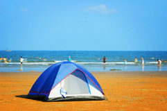 Tent on seashore Royalty Free Stock Image