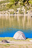 Tent Set Up on a beautiful day at Hauser Lake Montana Stock Photo