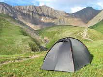 Tent in siberian mountain Stock Photos