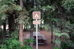 A tent site sign at a campground. Royalty Free Stock Photography