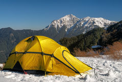 Tent on snow Royalty Free Stock Images