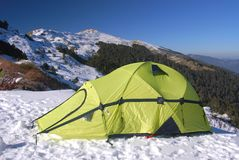 Tent on snow Royalty Free Stock Photography