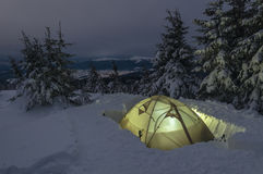 Tent on the snow Stock Photography