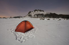 Tent in snow Stock Photos