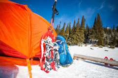 Tent in the snow. Stock Photos