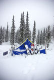 Tent after a snowfall Royalty Free Stock Photography