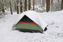 Tent in the a spring snow Stock Photos