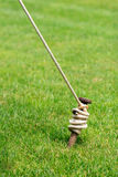 Tent Stake Wrapped With Rope Royalty Free Stock Photo