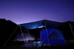 Tent and starry sky Stock Photography