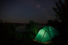 Tent, stars, sky, night Royalty Free Stock Photos