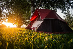 Tent at Sunrise Royalty Free Stock Photos